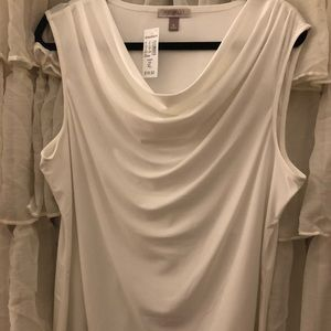 White shell with cascading neckline